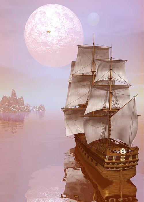 Wooden Ship Digital Art Greeting Cards