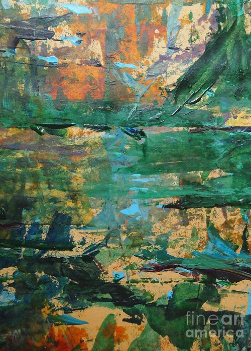 Acrylic Greeting Card featuring the painting Distant Lands by Nancy Kane Chapman