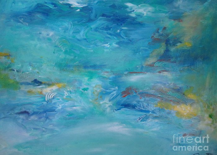 Abstract Greeting Card featuring the painting Distant Shore by Augusta Lourenco- Dias