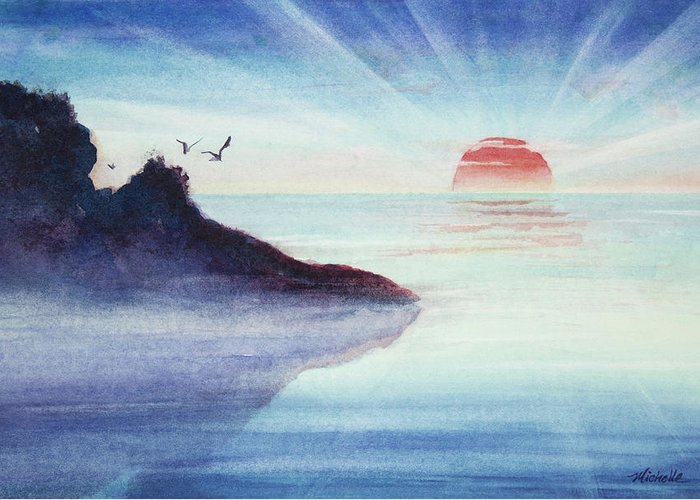 Rocks Greeting Card featuring the painting Distant Shoreline Sunrise Watercolor Painting by Michelle Wiarda