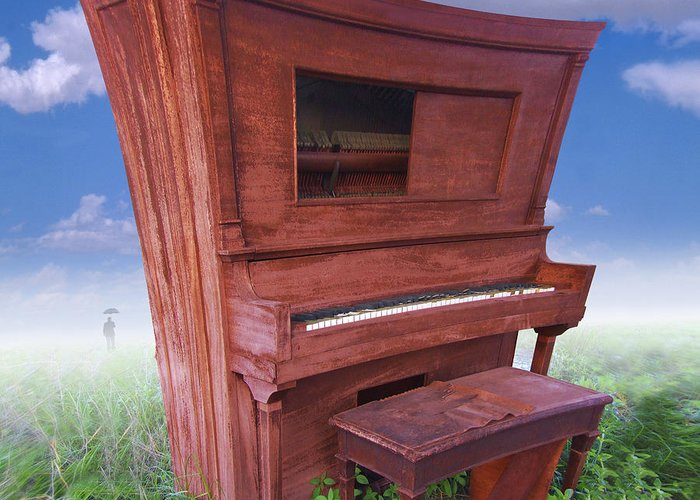 Surrealism Greeting Card featuring the photograph Distorted Upright Piano 2 by Mike McGlothlen