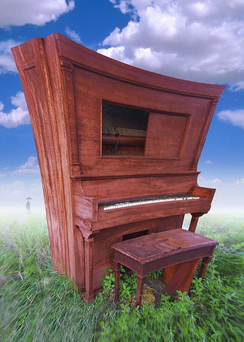 Distorted Upright Piano Greeting Card featuring the photograph Distorted Upright Piano by Mike McGlothlen
