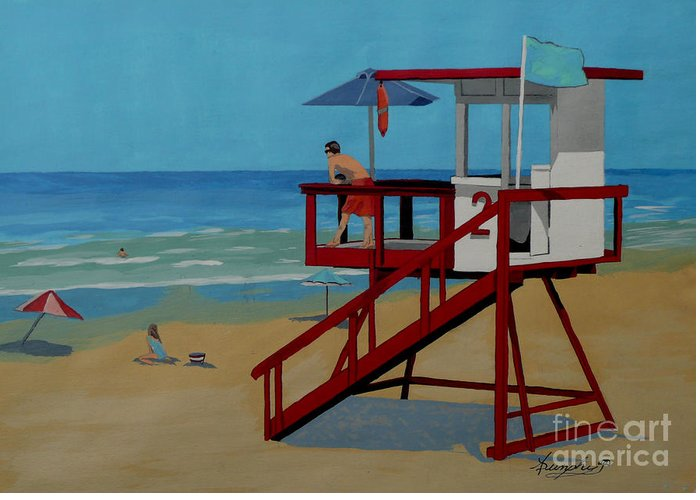 Lifeguard Greeting Card featuring the painting Distracted Lifeguard by Anthony Dunphy