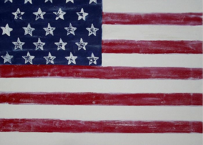 American Flag Greeting Card featuring the painting Distressed American Flag by Holly Anderson