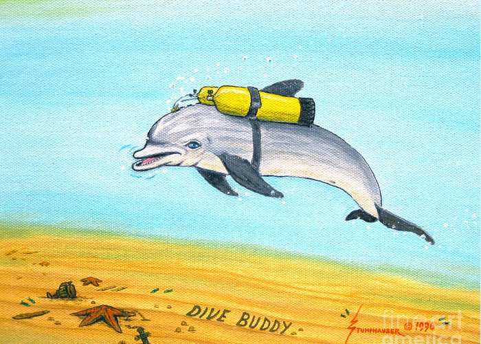 Dive Greeting Card featuring the painting Dive Buddy by Jerome Stumphauzer