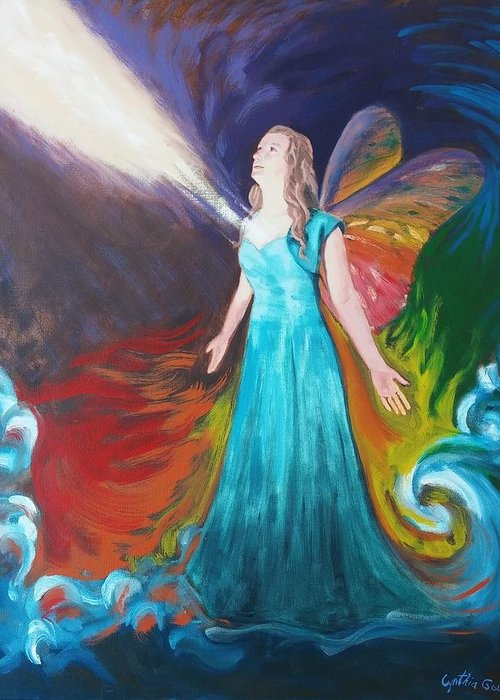 Portrait Greeting Card featuring the painting Divine Calling To Fly by Cynthia Gough