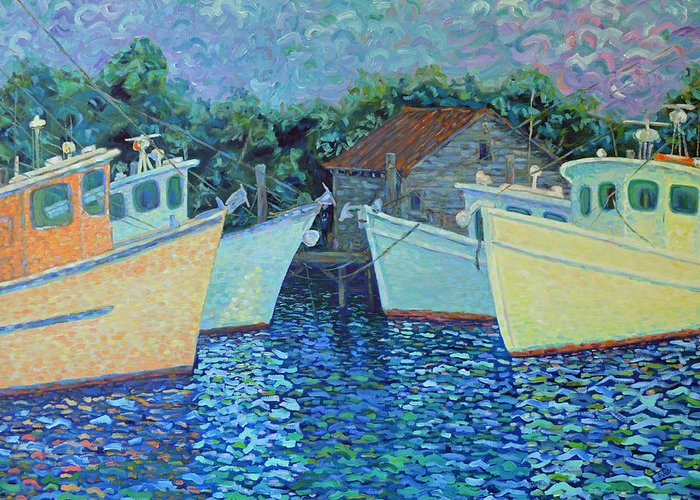 Shrimp Boats Greeting Card featuring the painting Divisionistic Shrimp Boats by Dwain Ray