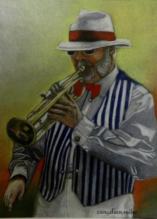 Pastal Painting Greeting Card featuring the pastel Dixie Music Man by Sandra Sengstock-Miller