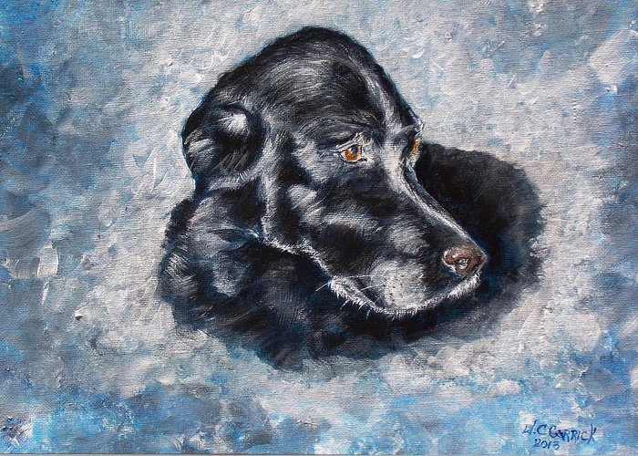 Dog Greeting Card featuring the painting Dizzy by Walter Carrick