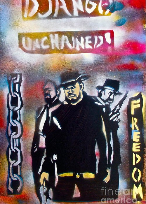 Hip Hop Greeting Card featuring the painting Django Freedom by Tony B Conscious