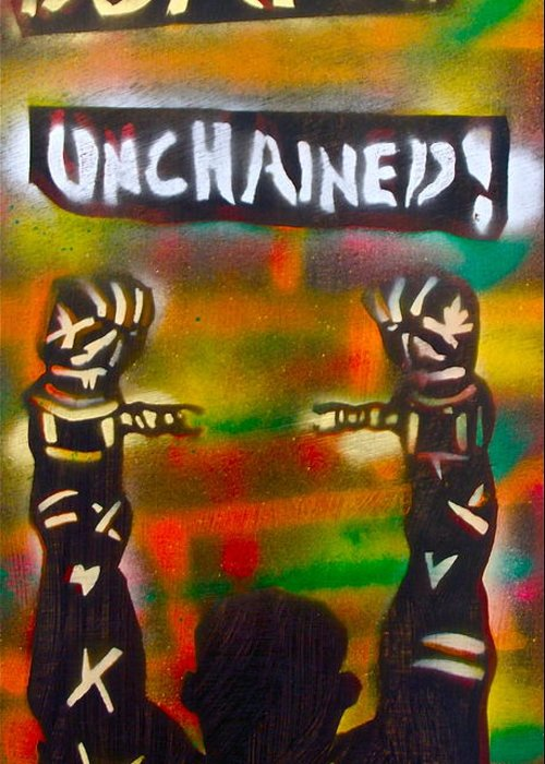 Hip Hop Greeting Card featuring the painting Django Unchained by Tony B Conscious