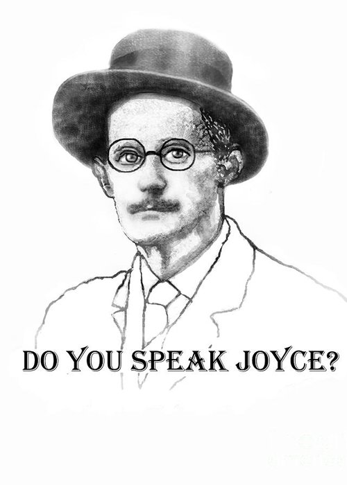 James Joyce Greeting Card featuring the painting Do You Speak Joyce by Jerry Kool