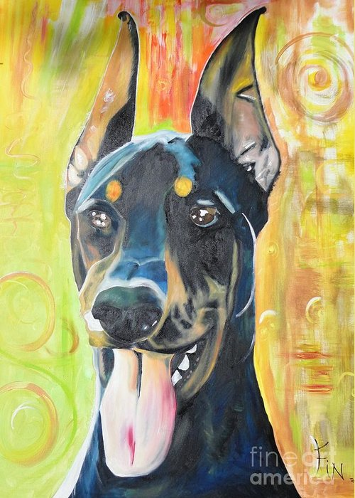 Pedigree Greeting Card featuring the painting Doberman by PainterArtist FIN