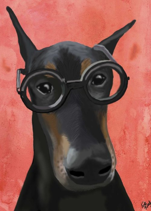 Doberman Framed Prints Greeting Card featuring the digital art Doberman With Glasses by Loopylolly