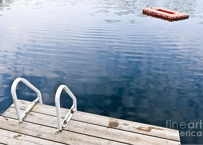 Dock Greeting Card featuring the photograph Dock On Calm Summer Lake by Elena Elisseeva