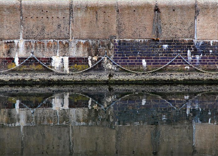 Reflection Greeting Card featuring the photograph Dock Wall by Mark Rogan