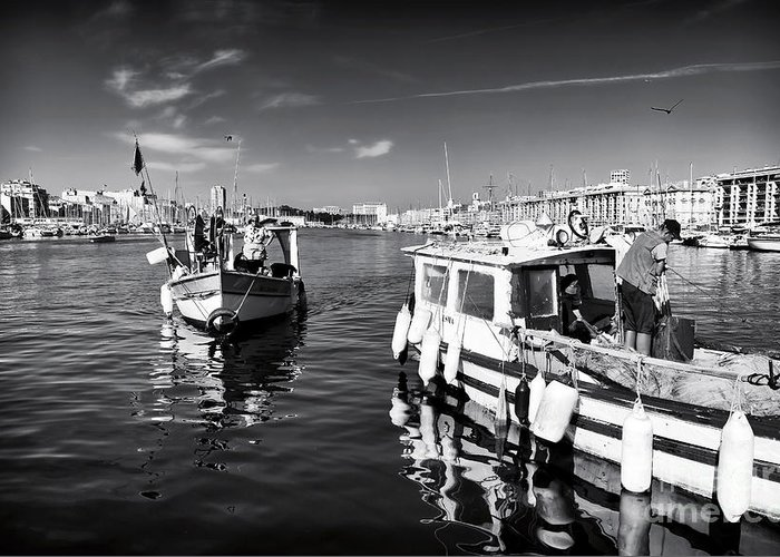 Docking At The Market Greeting Card featuring the photograph Docking At The Market by John Rizzuto