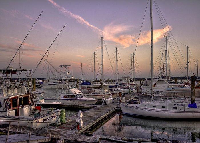 Reid Callaway Beaufort Sc Greeting Card featuring the photograph Dockside Sunset In Beaufort South Carolina by Reid Callaway