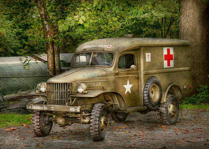 Ambulance Greeting Card featuring the photograph Doctor - Mash Unit by Mike Savad