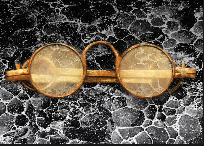 Suburbanscenes Greeting Card featuring the photograph Doctor - Optometrist - Glasses Sold Here by Mike Savad