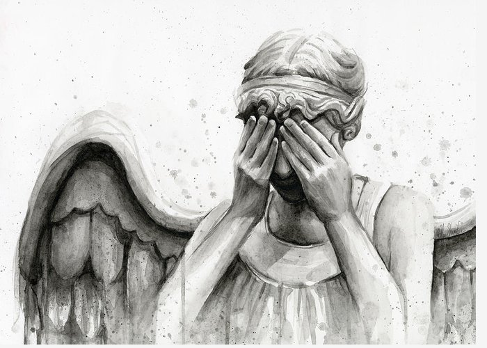 Who Greeting Card featuring the painting Doctor Who Weeping Angel Don't Blink by Olga Shvartsur