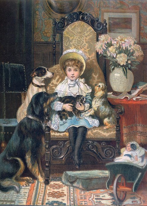 Cute Greeting Card featuring the painting Doddy And Her Pets by Charles Trevor Grand
