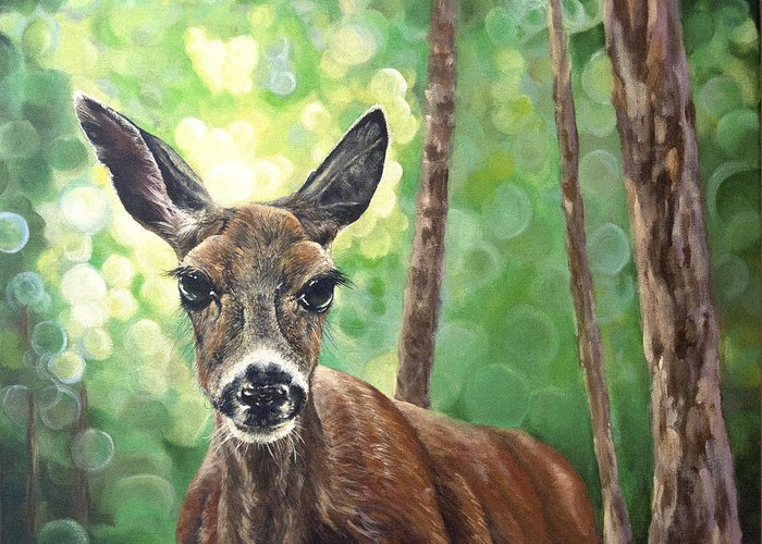 Animals Greeting Card featuring the painting Doe Eyes by Melissa Adams