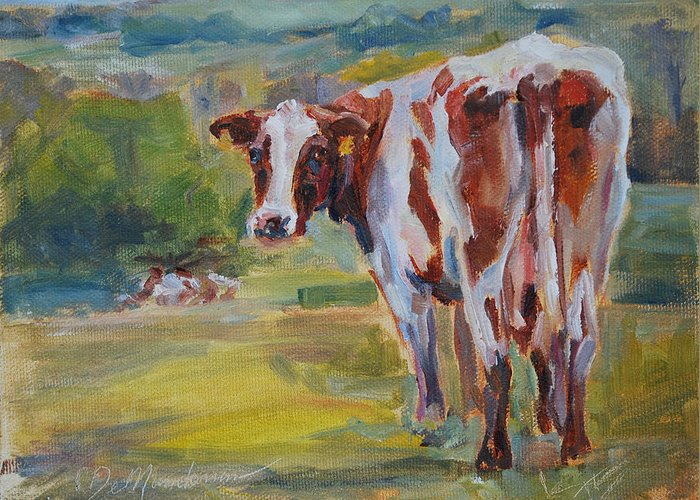 Guernsey Cow Greeting Card featuring the painting Does My Butt Look Big? by Carol DeMumbrum