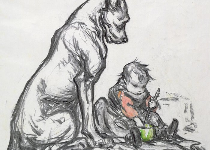 Le Chien Et L'enfant Greeting Card featuring the painting Dog And Child by Robert Noir