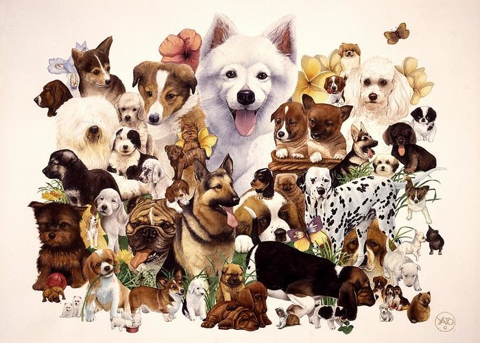 Dogs Canvas Prints Greeting Card featuring the painting Dog And Puppies by John YATO