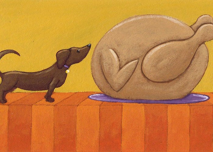Dog Greeting Card featuring the painting Dog And Turkey by Christy Beckwith
