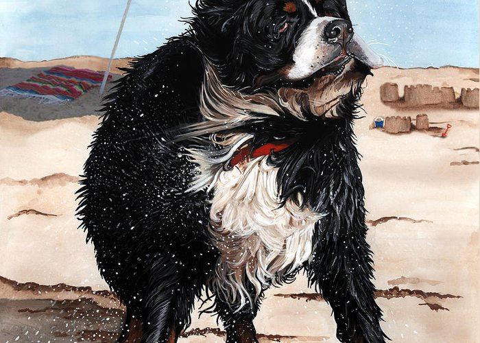 Bernese Mountain Dog Greeting Card featuring the painting Dog Days Of Summer by Liane Weyers