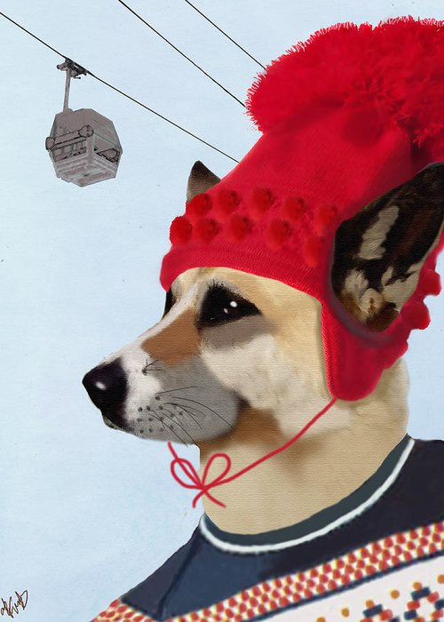 Dog Framed Prints Greeting Card featuring the digital art Dog In A Ski Jumper by Kelly McLaughlan