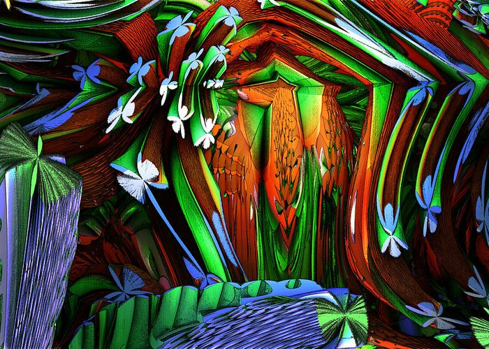 Abstract Realism Greeting Card featuring the digital art Dog Shrine With Flowers by Ned Haw