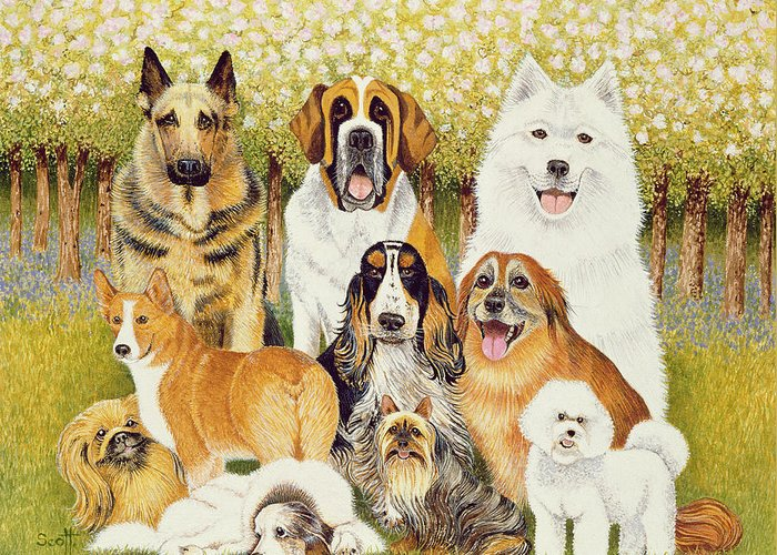 Dog Greeting Card featuring the painting Dogs In May by Pat Scott