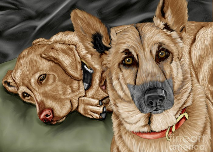 German Shepherd Greeting Card featuring the painting Dogs by Karen Sheltrown