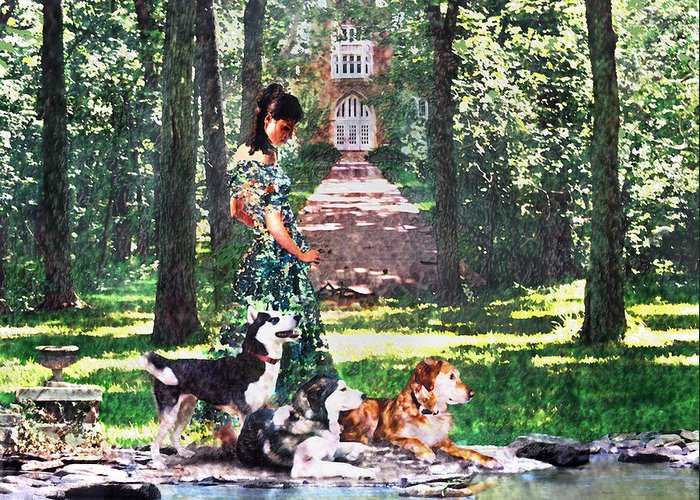 Landscape Greeting Card featuring the photograph Dogs Lay At Her Feet by Steve Karol
