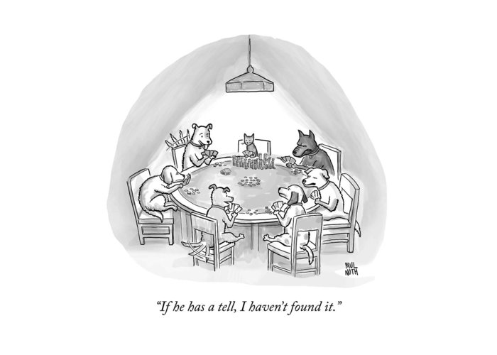 Dogs Greeting Card featuring the drawing Dogs Playing Poker Refer Angrily To A Cat Who by Paul Noth