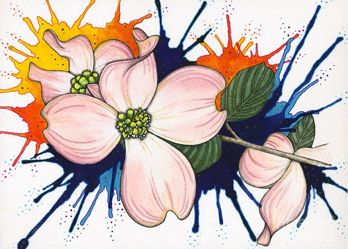 Dogwood Greeting Card featuring the painting Dogwood Flowers by Nora Blansett