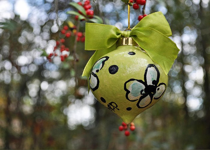Ornament Greeting Card featuring the ceramic art Dogwood Majolica Maiolica Ornament by Amanda Sanford