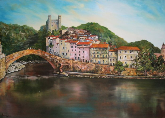 Dolceacqua Greeting Card featuring the painting Dolceacqua Italy by Jean Walker
