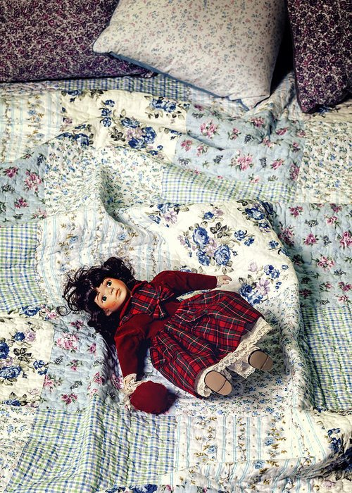 Old Greeting Card featuring the photograph Doll On Bed by Joana Kruse