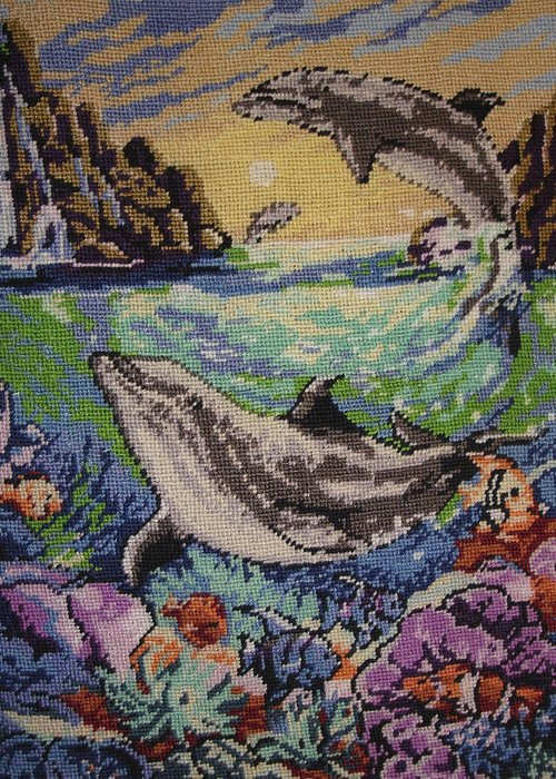 Dolphins Game Greeting Card featuring the tapestry - textile Dolphins Game by Eugen Mihalascu