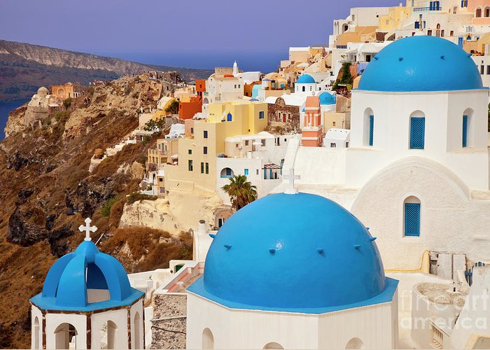 Santorini Greeting Card featuring the photograph Domes Of Santorini by Brian Jannsen