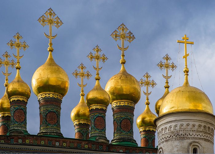 Church Greeting Card featuring the photograph Domes Of The Church Of The Nativity Of Moscow Kremlin - Featured 3 by Alexander Senin