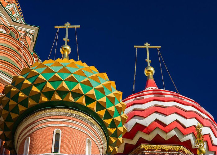 World Greeting Card featuring the photograph Domes Of Vasily The Blessed Cathedral - Feature 3 by Alexander Senin