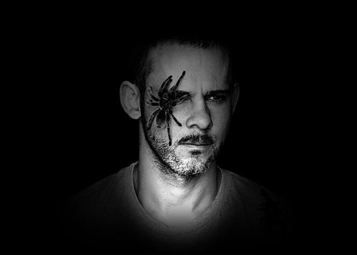 Dominic Monaghan Greeting Card featuring the digital art Dominic Monaghan In The Dark by Lizzie B