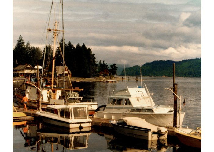 Old Photos Of Pacemaker Yacht Moored At The Dock Of Alderbrook Inn Greeting Card featuring the photograph Domino At Alderbrook On Hood Canal by Jack Pumphrey
