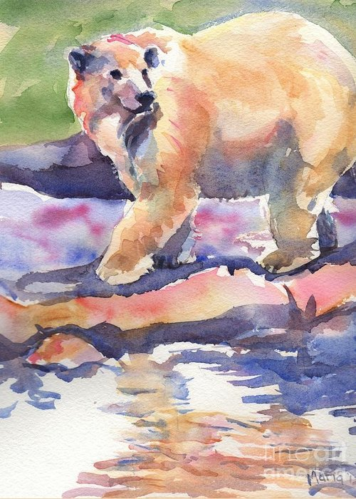 Polar Bear Watercolor Painting Greeting Card featuring the painting Don't Look Back by Maria's Watercolor