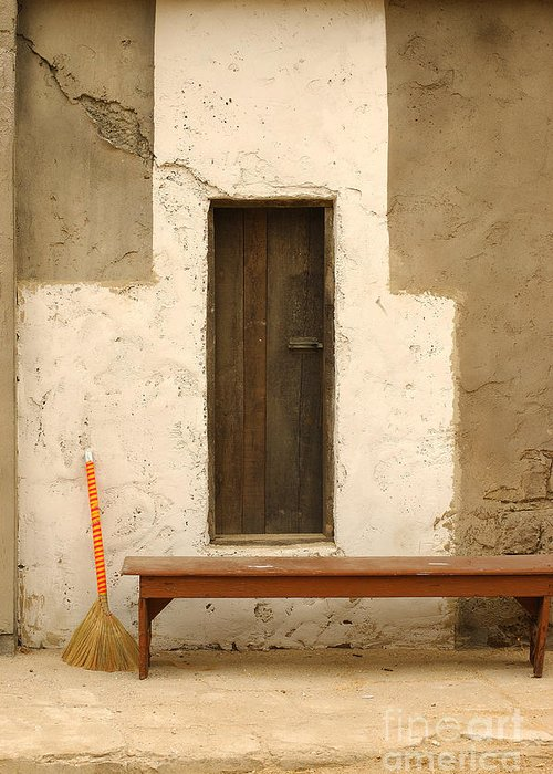 Door Greeting Card featuring the photograph Door And Broomstick by Micah May